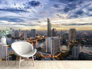 Bangkok city and Chao Phraya river panorama view