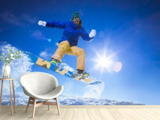 Athlete on a snowboard