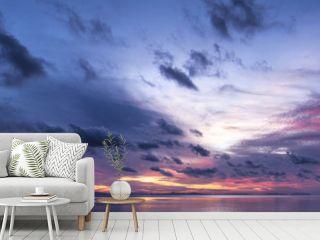 Panorama of sunrise over the sea