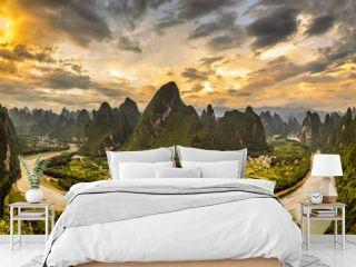 Xianggong hill landscape of Guilin, Li River and Karst mountains. Xingping, Yangshuo County, Guangxi Province, China.