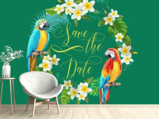 Save the Date Tropical Flowers and Birds Card - for Wedding, Invitation