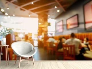 Customer in restaurant blur background with bokeh