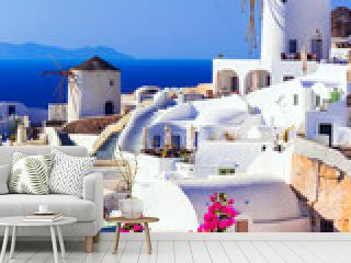beautiful Greece . traditional windmills of Santorini