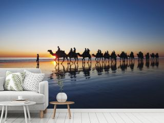 Camels walking along Cable Beach, Broome, Western Australia