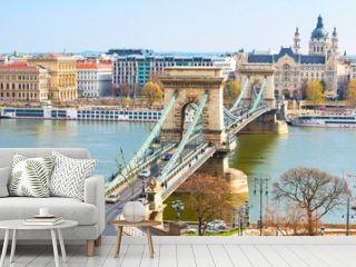 Landmark of Budapest, Szechenyi Chain Bridge, river Danube, houses panorama