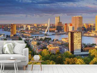 Rotterdam Panorama. Panoramic image of Rotterdam, Netherlands during summer sunset.