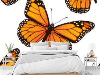 Seamless pattern with monarch butterflies