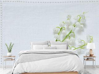 Lily of the Valley on white canvas