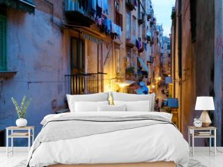 NAPLES, ITALY - January 16, 2016 : Street view of old town night