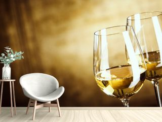 Banner of Two glasses of white wine with copy space