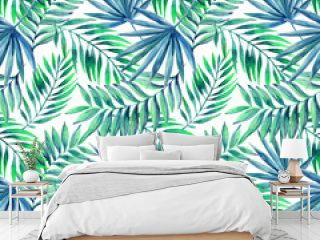 Watercolor tropical leaves seamless pattern