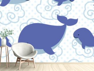 Seamless pattern with cute cartoon whales.