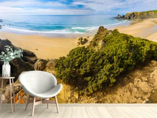 Panoramic view of Odeceixe Beach. Vicentina Coast Natural Park. Odesehe. Algarve region. Portugal