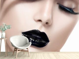 Beauty fashion model girl with black makeup