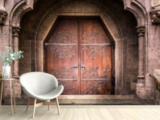 Old Reinforced Medieval Middle Ages Entrance Wooden Iron Doors S