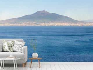 Naples coast and Mount Vesuvius, Italy.