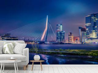 Skyline von Rotterdam bei Nacht