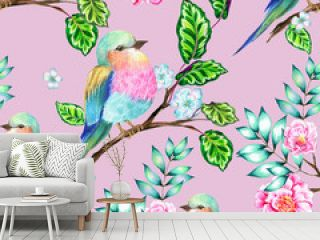 bird with flowers, isolated.