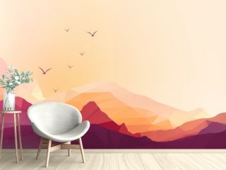 Geometric Mountain and Sunset Background Panorama - Vector Illus