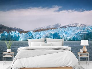 View of Grey Glacier, Torres del Paine National Park, Patagonia, Chile. Global warming is affecting the glaciers all over the world.