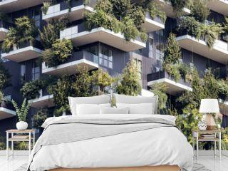 Green futuristic skyscraper  architecture and nature relationship