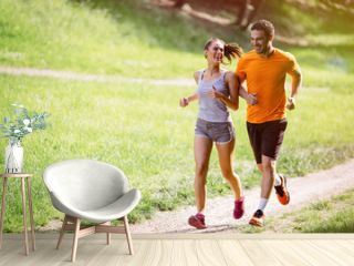 Couple jogging outdoors