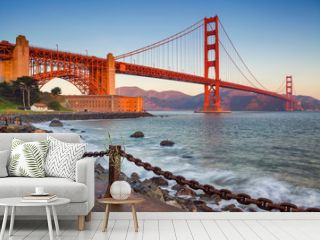 San Francisco. Image of Golden Gate Bridge in San Francisco, California during sunrise.