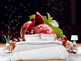 Yogurt dessert with berries strawberry and cherry on bakes toast