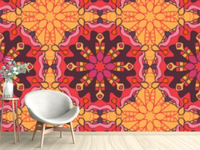 Seamless pattern with mandalas in beautiful colors for your design. Vector background