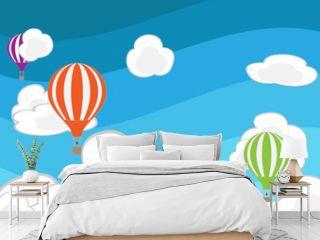 hot air balloon in the sky. vector illustration