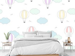 cute cartoon colorful air balloon in the sky seamless vector pattern background illustration