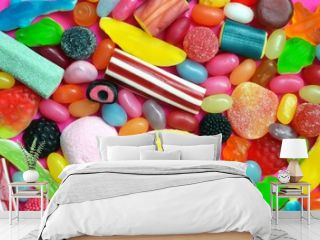a lot of colourful sweet candy