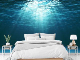 Dark blue ocean surface seen from underwater