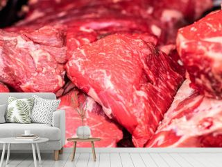 fresh raw meat of beef for steaks at butcher shop