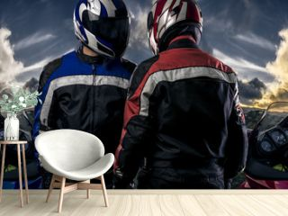 HDR composite of bikers or motorcycle riders with motor bikes on a road.  The men depict a club or are competitors in a race. The image depicts racing and motorsports.