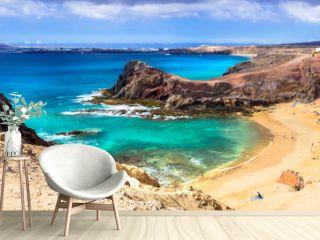 Unique volcanic island Lanzarote - beautiful beach Papagayo, Canary islands, Spain