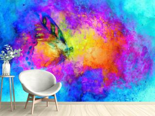 flying butterfly in cosmic space. Painting with graphic design.