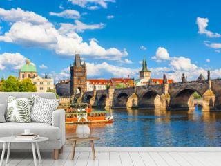 Prague, Czech Republic, Charles Bridge across Vltava river on which the ship sails