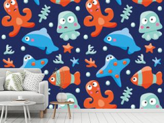 Marine seamless pattern with fishes, octopus and Dolphin