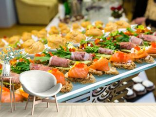 Delicacies and snacks at a buffet or Banquet. Catering