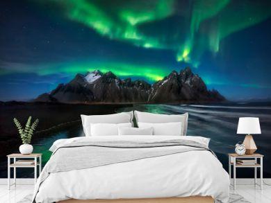 Stokksnes Northern Lights Green Reflection - ICELAND