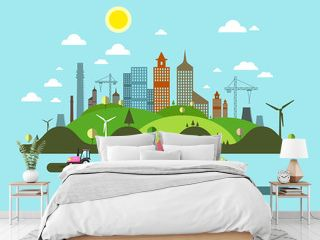 Flat Design City. Abstract Vector Town.