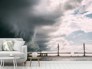 The storm is approaching the city from the bridge
