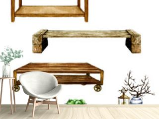 Wooden Living Room Tables with and without additional decor  - Watercolor Illustration.