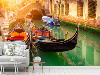 Canal with two gondolas in Venice, Italy