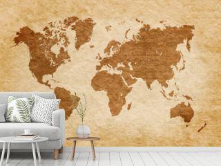 world map on grunge background, vintage look