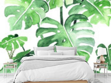 Monstera leaves background. Beautiful watercolor pattern made of tropical plant leaves. Ideal for prints, decoration and interior. Isolated on white