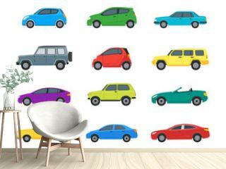 Cartoon Cars Color Icons Set. Vector