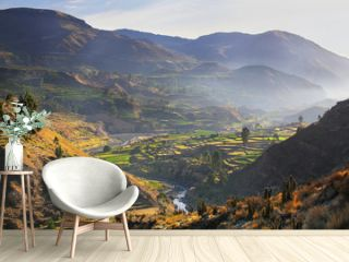 View of Colca Canyon with morning fog in Peru