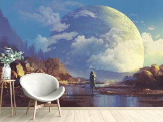 scenery of lonely woman looking at another erath,illustration painting